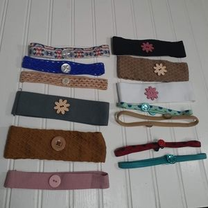 13 Assorted headbands with buttons